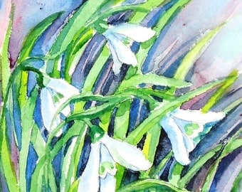 """Painting """"Snowdrops in the Wind""""  Original Watercolor Art size 11 x 6.ins Gift for Garden lover With optional 2 inch mat"""