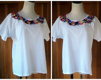70s Vintage Hippie Embroidered Ethnic Muslin Blouse White Butterfly Colorful Embroidery M 45 Bust