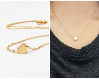 Get 15% OFF -  Dainty Small Brass Gold Plated Heart Charm Necklace - Valentine's Day SALE 2016
