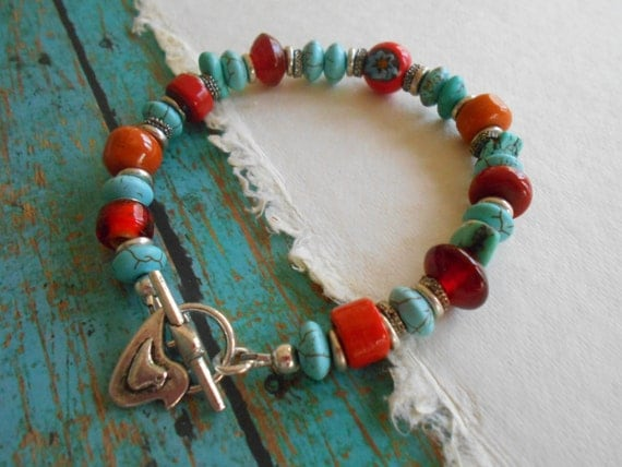 Boho Southwestern Hippie Turquoise Stacking Bracelet Turquoise Orange Glass Lampwork Beaded Stacking Bracelet Flower Child Beach Gems