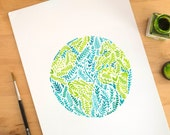 blue green art print, blue green print, earth print, earth art print, earth illustration art, earth watercolor, world globe print