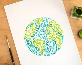 Earth print, earth art print, earth day print, earth watercolor, world globe, world art print, world print, globe print, nature lover gift