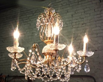Fancy French Cottage Chandelier, Brass and crystal chandelier