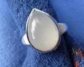 Large Teardrop White Moonstone in Argentium Ring 8 & a Half