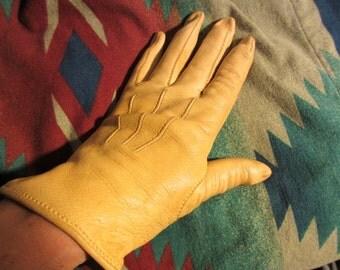 50's Vintage Deerskin Leather Gloves natural color 6.5