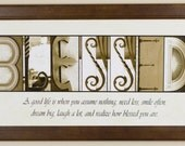 "Alphabet Photography Letter photos ""Blessed"" 10x20 Framed"