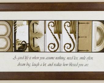 "Alphabet Photography Letter photos ""Blessed"" 10x20 Framed"