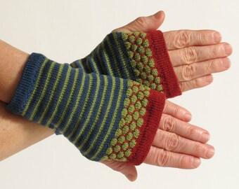 Fingerless Gloves, Wrist Warmers, Blue Merino Wool