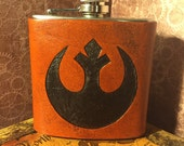 Rebel Alliance Leather Flask Handcrafted Star Wars Fandom - 6oz Stainless Steel Flask - MADE TO ORDER
