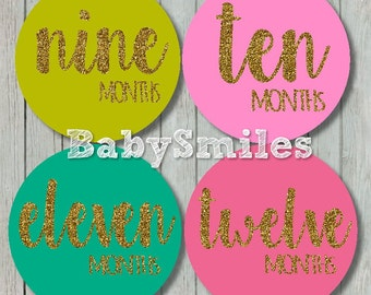 FREE GIFT Monthly Baby Stickers Baby Month Stickers Girl Month Stickers Monthly Bodysuit Sticker Monthly Milestone Stickers Gold Glitter