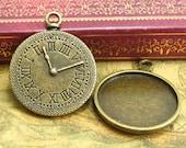10 pcs Clock Pendant Settings Cameo Settings Bezels---Can Hold 25x25mm Cabochon Lead Free CH2229