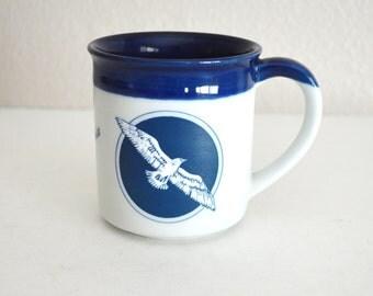 Vintage 80s Bald Eagle California Pottery Etched White Blue Mug