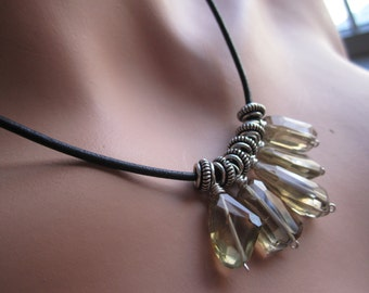 Boho Champagne Quartz Nugget Pewter and Leather Necklace with Sterling Clasp