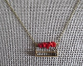 Cathode - Geometric Brass & Semi Precious Stone Rectangle Necklace with Red Coral
