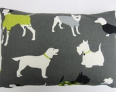Oblong Dark Grey and Lime Green Dog Decor Pillow Cover, Dog Cushion Cover, Dog print Lumbar Pillow Cover,12 x 18 Inch up to 12 x 24 Inch