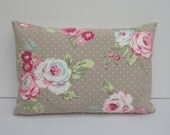 Taupe English Rose Oblong Cushion Cover, Lumber Pillow Cover, Bolster, Shabby Chic Style, Various Sizes 12 x 18, 12 x 20, 12 x 22, 12 x 24