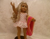 American Girl doll Red & White Polka Dot Bathing Suit and Striped Beach Towel
