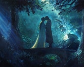 Lord of the Rings LOTR inspired fine art print of my original oil painting, Aragorn and Arwen. Signed by the artist