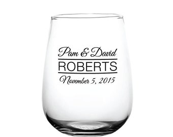 Wedding Favors Wine Glasses 96 Personalized 17oz Stemless Glasses Custom Wedding Favor or Great for Bars Patio Events