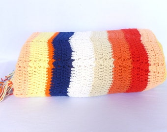VINTAGE KNIT COVERLET/ Bright colored striped coverlet