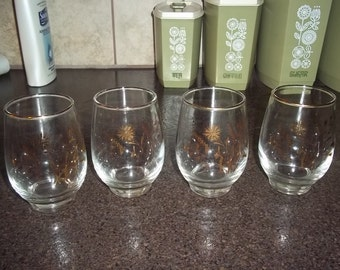 Set of 4 Libbey Wheat Design  glasses - mixed drink or juice glass