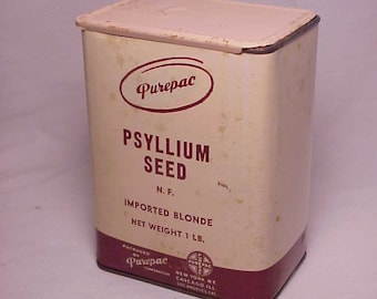 c1940s Purepac Psyllium Seed imported Blonde packed by Purepac New York, N.Y., Antique Medicine Container No.2