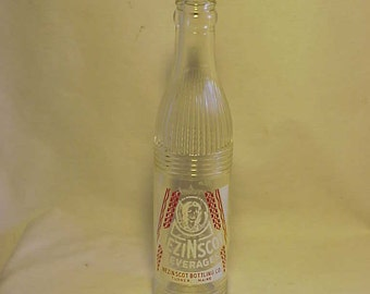 c1960 Nezinscot Beverages Nezinscot Bottling Co. Turner, Maine, Clear ACL Painted Label Crown Top Soda Bottle with Indian
