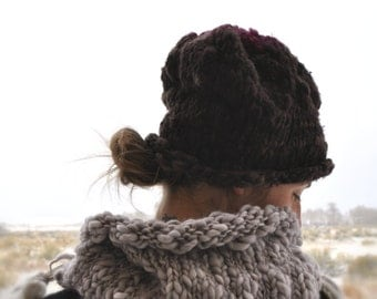 Hand Knit Hat, Bulky, Slouchy, Roll brim from Handspun Yarn By Yospun. Deep Chocolate Brown with Maroon crown