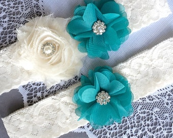 Wedding Garter Set Bridal Garter Set TURQUOISE BLUE Lace Garter Set Ivory Rhinestone Crystal Lace Garter Beach Wedding GR122LX