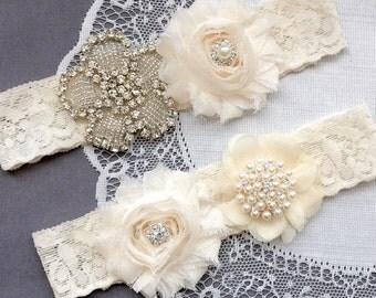 Wedding Garter Belt Set Bridal Garter Set Ivory Lace Garter Belt Lace Garter Set Rhinestone Crystal Pearl Center Garter GR143LX