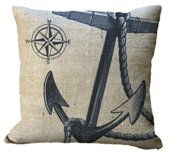 Burlap Navy or Red Nautical Anchor & Compass in choice of 14x14 16x16 18x18 20x20 22x22 24x24 26x26 inch Pillow Cover