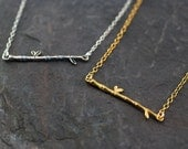 Gold Bar Necklace - Bamboo Branch Necklace - Dainty Gold Necklace - Layering Necklace - Layered Necklace - Minimalist Jewelry