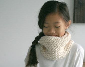 Knit Children's Cowl Scarf Textured in Fisherman