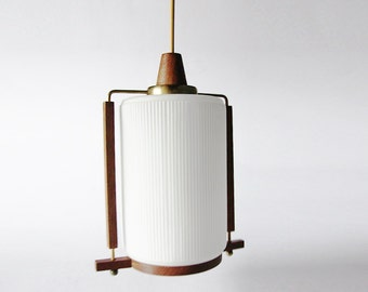 Mid Century Danish Teak Glass Ceiling Lamp Pendant - 60s