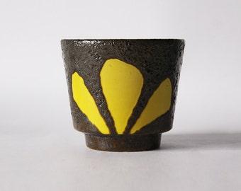 "Mid Century ES Keramik ""Petal""  Yellow Fat Lava Planter - ES Keramik, Germany  1965"