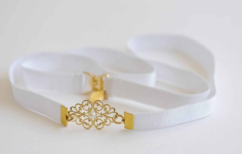 Bridal belt gold belt pearl belt wedding dress belt white for Gold belt for wedding dress
