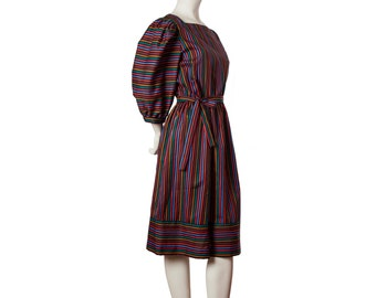 Vintage rainbow striped dress -- puffy sleeve dress -- 1980s day dress with tie waist -- size medium / large / xl