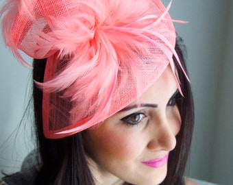 """Coral Fascinator - """"Victoria"""" Twist Mesh Fascinator embellished with Fluffy Feathers on a Headband"""