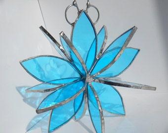 3D stained glass teal blue flower twirl garden art sculpture home decor hanging ornament