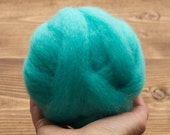 Aqua Blue Wool Roving for Needle Felting, Wet Felting, Spinning, Dyed Felting Wool, Turquoise, Light Teal, Robins Egg, Fiber Art Supplies