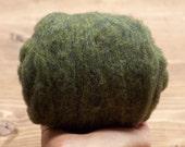 Cypress Green Needle Felting Wool, Wool Batting, Batts, Wet Felting, Spinning, Dyed Felting Wool, Green, Olive, Fiber Art Supplies