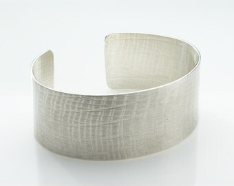 Silver Cuff Bracelet with Texture - Hallmarked Silver Open Cuff Bracelet - Fine Jewelry simple silver cuff for her - Birthday Present