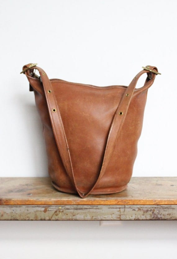 Vintage Coach Bucket Bag In British Tan Coach Duffle Bag
