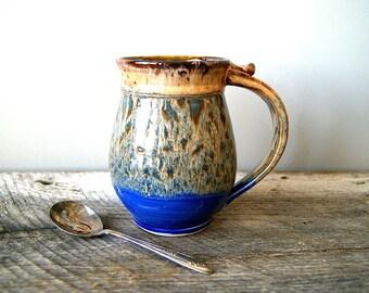 One Handmade MUG, Royal Blue and Mocha Cream, Handmade Wheel Thrown by RiverStone Pottery