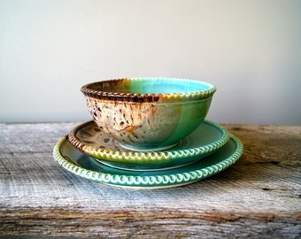 MADE TO ORDER... Dinnerware Set, Dinner Plate, Side Plate, Bowl, Handmade Pottery, Wheel Thrown, Greens and Browns by Hope Fregerio