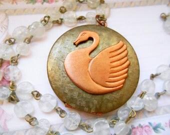 Swan Locket, Vintage Glass Chain, Vintage Locket