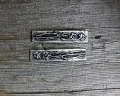 Poppy design silver pewter barrette pair