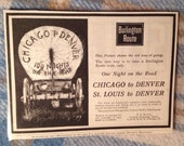 Chicago to Denver Via Burlington Northern R R Travel Original Advertisement