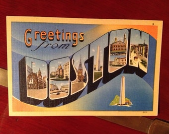 Greetings From Boston Mass  1940's PC