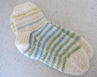 Medium cream & yellow multi colored wool striped lounging socks